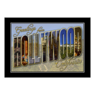 Vintage Print Greetings Hollywood California