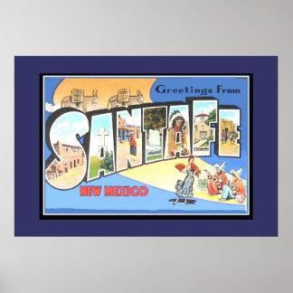 Vintage Print Greetings Santafe New Mexico