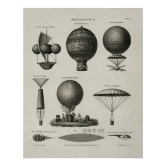 Vintage Print Hot Air Balloon Aeronautics Poster