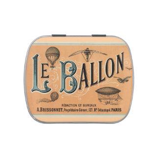 Vintage Print Hot Air Balloon peach mint Tin Candy Tins