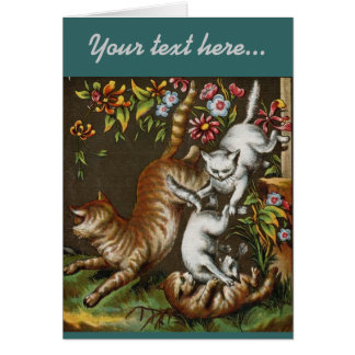 Vintage Print: Kittens playing in the garden Greeting Card