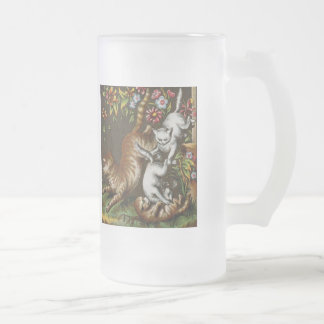 Vintage Print: Kittens playing in the garden Frosted Glass Beer Mug