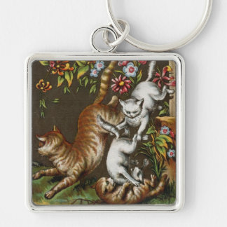 Vintage Print: Kittens playing in the garden Keychain