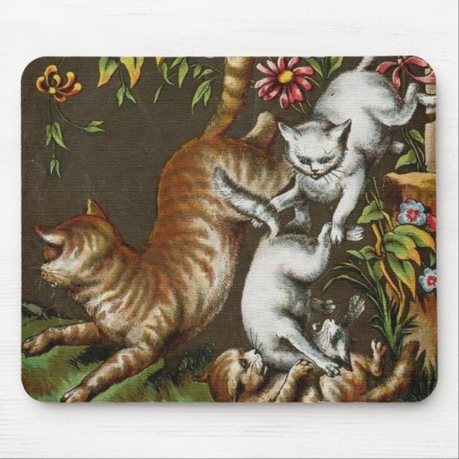 Vintage Print: Kittens playing in the garden Mouse Pad