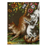 Vintage Print: Kittens playing in the garden Postcards