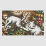 Vintage Print: Kittens playing in the garden Rectangle Sticker