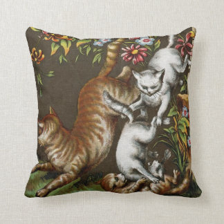 Vintage Print: Kittens playing in the garden Throw Pillow