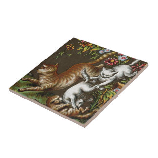 Vintage Print: Kittens playing in the garden Tile