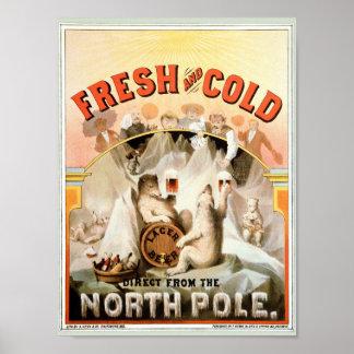 Vintage Print, Lager Beer Polar Bears, North Pole Poster