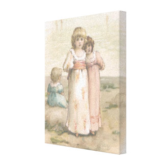 "Vintage Print ""Little Beachcombers"" Canvas"