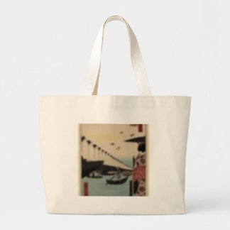 Vintage print of Boats. Woodblock print. Large Tote Bag