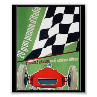 vintage  Print Poster Car Race Italy Monza