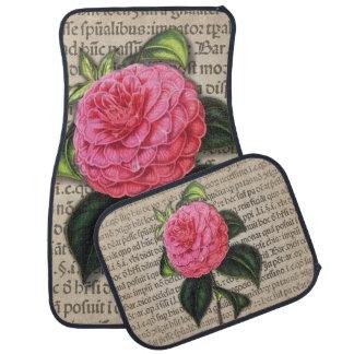 "Vintage Print ""Sweet Camellia"" Car Mats Floor Mat"