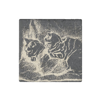 Vintage print with two sleeping cats stone magnet
