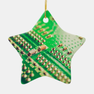 Vintage printed circuit board Double-Sided star ceramic christmas ornament