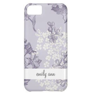 Vintage Printed Lilacs in Purple and White iPhone 5C Case