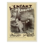 Vintage Prodigal Son mime black and white drawing Postcard