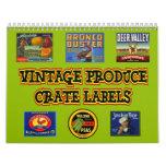 Vintage Produce Crate Labels Wall Calendar