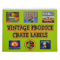 Vintage Produce Crate Labels Wall Calendar