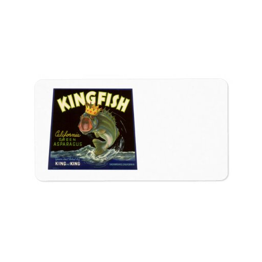 Vintage Product Can Label Art, Kingfish Asparagus Address Label