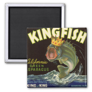 Vintage Product Can Label Art, Kingfish Asparagus 2 Inch Square Magnet