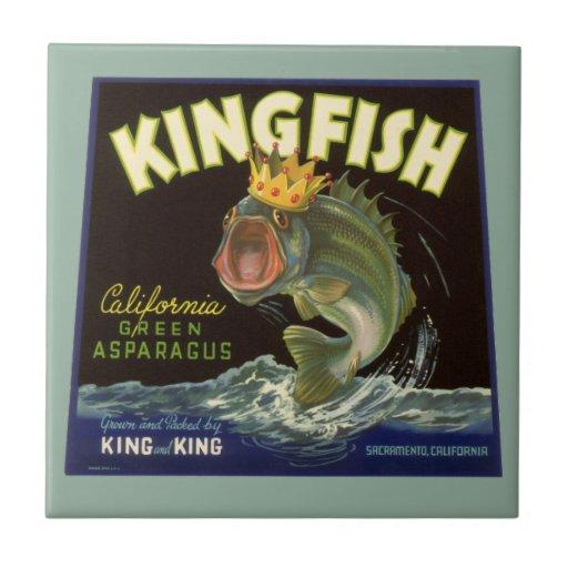 Vintage Product Can Label Art, Kingfish Asparagus Ceramic Tile