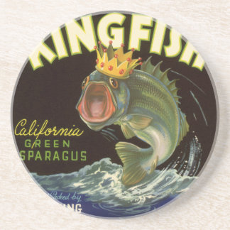 Vintage Product Can Label Art, Kingfish Asparagus Coaster
