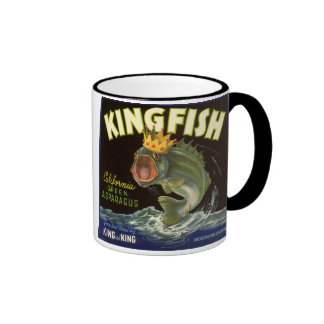 Vintage Product Can Label Art, Kingfish Asparagus Ringer Coffee Mug