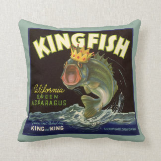 Vintage Product Can Label Art, Kingfish Asparagus Throw Pillows
