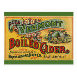 Vintage Product Label Art Brattleboro Boiled Cider Postcard