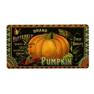 Vintage Product Label Art Butterfly Brand Pumpkin