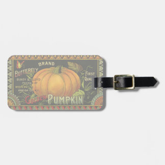 Vintage Product Label Art Butterfly Brand Pumpkin Tag For Luggage