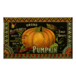 Vintage Product Label Art; Butterfly Brand Pumpkin Poster