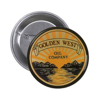 Vintage Product Label Art, Golden West Oil Company Button