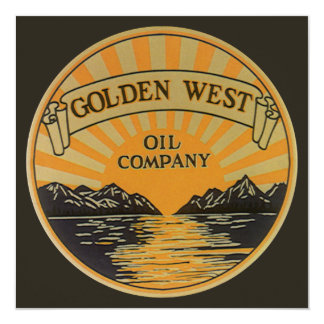 Vintage Product Label Art, Golden West Oil Company 5.25x5.25 Square Paper Invitation Card