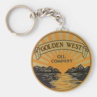 Vintage Product Label Art, Golden West Oil Company Keychain