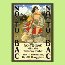 Vintage Product Label Art, No To Bac, Quit Smoking Card