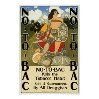 Vintage Product Label Art, No To Bac, Quit Smoking Poster