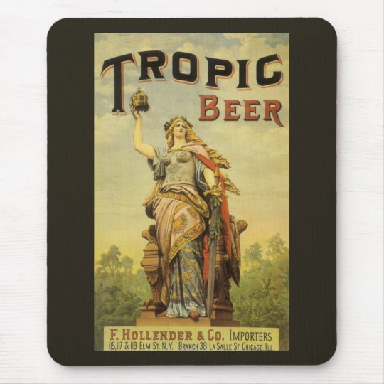 Vintage Product Label Art, Tropic Beer Mouse Pad