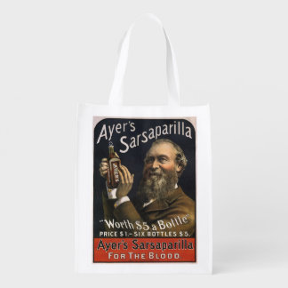 Vintage Product Label, Ayer's Sarsaparilla Drink Reusable Grocery Bag