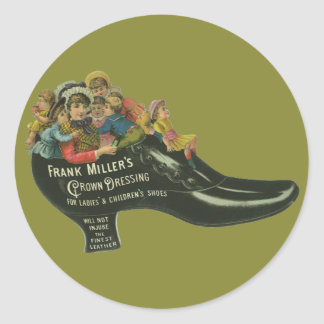 Vintage Product Label, Frank Miller's Shoe Polish Classic Round Sticker