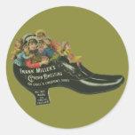 Vintage Product Label, Frank Miller's Shoe Polish Classic Round Sticker