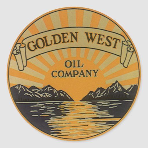 Vintage Product Label; Golden West Oil Company Round Sticker