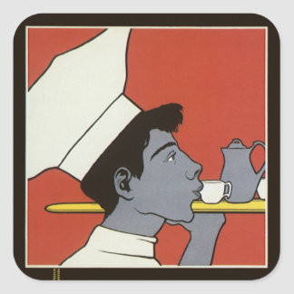Vintage Product Label, Kakao Russian Hot Chocolate Square Sticker