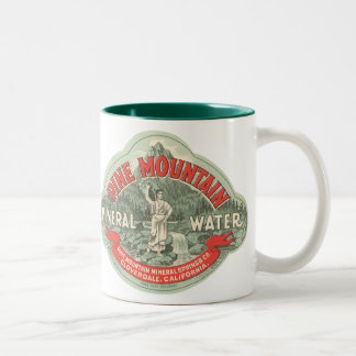 Vintage Product Label, Pine Mountain Mineral Water Two-Tone Coffee Mug