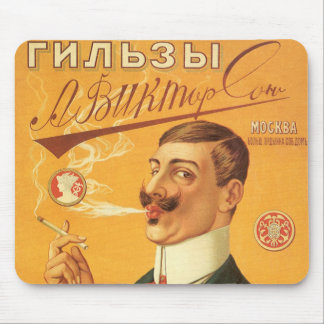 Vintage Product Label, Russian Tobacco Cigarettes Mouse Pad