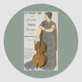 Vintage Product Label, Star Cough Drops Classic Round Sticker