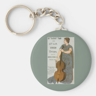 Vintage Product Label, Star Cough Drops Keychain