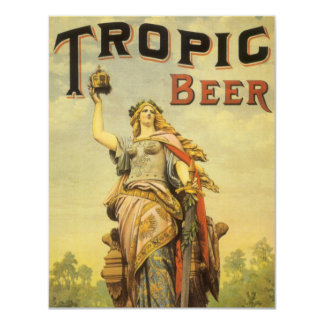 """Vintage Product Label, Tropic Beer 4.25"""" X 5.5"""" Invitation Card"""