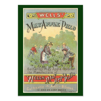 Vintage Product Label, Wells Apple Pills 5x7 Paper Invitation Card